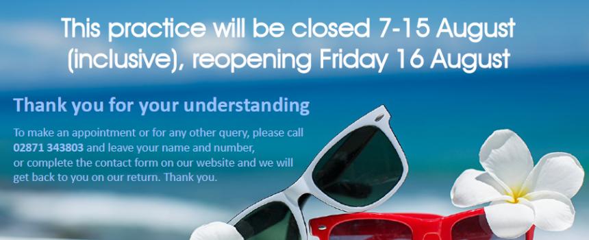 Summer holiday closure